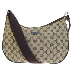 Authentic GUCCI brown canvas crossbody bag